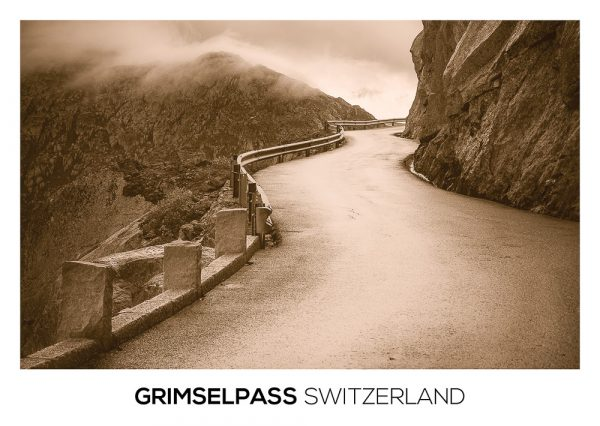 Sepia styled postcard from the mountain pass road at Grimselpass.